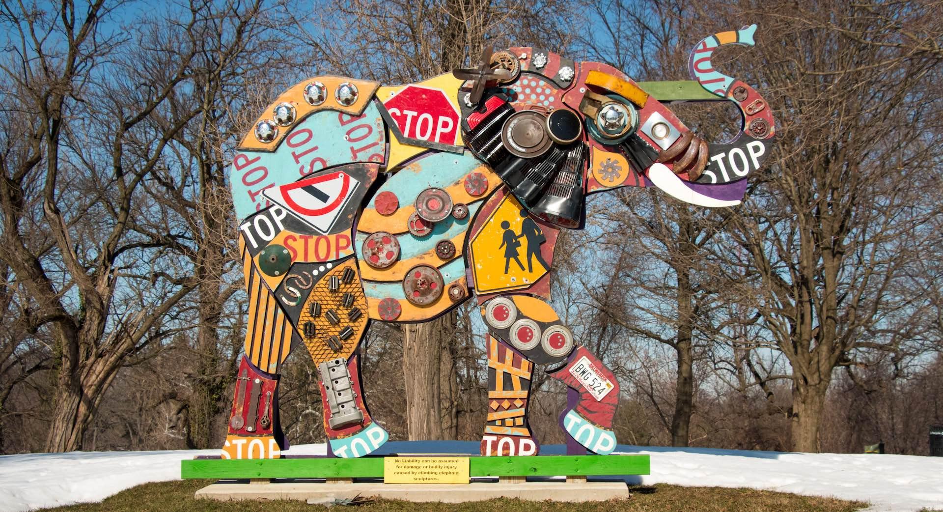 Auchentoroly Terrace - elephant sculpture