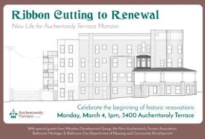 3400 Auchentoroly Terrace ribbon cutting banner